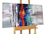 KunstLoft® Acryl Gemälde 'Confused' 140x70cm | original handgemalte Leinwand Bilder XXL | Abstrakt Rot Blau Struktur | Wandbild Acrylbild moderne Kunst einteilig mit Rahmen