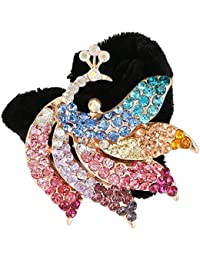 Pink Rose - Princess Collection Multicolour Alloy Stone Mayur Hair Band For Women/Girls