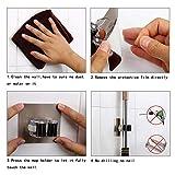 Mop Holder, soporte para escoba autoadhesivo, soporte de pared, herramientas de almacenamiento, organizador de pared, estantes para cocina y baño, 4 piezas