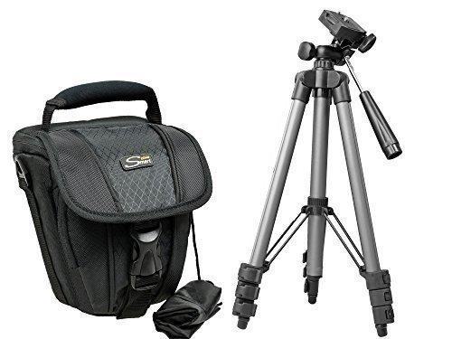 Foto Kamera Tasche ZOOM M Set mit Reise-Stativ für SLR Nikon D5500 D5300 D5200 D3300 D3200 Canon EOS 1300D 1200D 700D Sony Alpha 6000 5100 und viele andere