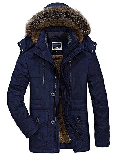 Tomwell Herren Winter Wärme Plus Dicken Samt Draussen Funktionsjacke Kapuzenparka Windbreaker Outwear Mantel Jacke Parka Blau EU 2XL