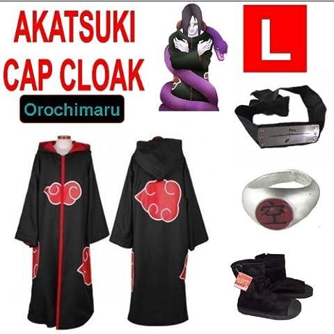 Naruto costume cosplay Set per Orochimaru- Akatsuki Mantello incappucciato + anello Akatsuki Orochimaru+ fascia + scarpe Naruto Akatsuki , taglia L (altezza 169 cm-176 cm)