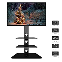 """1home Cantilever TV Stand with 3 Tempered Glass Shelves, Swivel Height Adjustable Mount Bracket for 30-65"""" LCD LED Plasma Flat Curved TVs"""