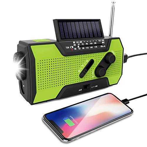 Odoland Solar Radio Multifunktion Outdoor Radio -Taschenlampe Kurbelradio FM/AM Notfallradio 2000mAh Power Bank USB-Ladegerät und SOS-Alarm für Wandern,Camping,Ourdoor,Notfall