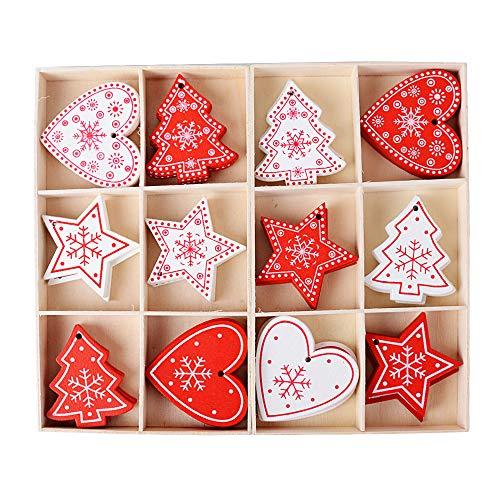 48pz ciondoli pendenti legno natalizi 2pz scatola immagazzinaggio decorazioni da appendere abbellimenti ornamenti decorativi per albero di natale fai da te bianco rosso cuore stelle (non laccetti)