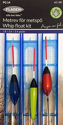 Fladen Angeln–Set 3Stück sortiert (2,4G–2.0G 1,8g) bereit Made Pole Peitsche Float Kit Rigs mit Widerhaken Haken–Pole Float Winder Line Shot Haken–für Pole und Peitsche Angeln [21–1001]