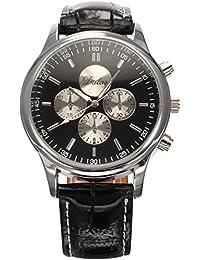 AMPM24 WAA688 - Reloj para hombres, correa de cuero color negro