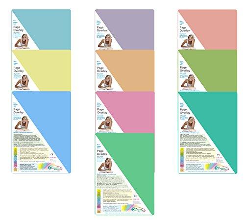 A4farbig getönte Overlays 10Stück + 1GRATIS neuen Farbe Grau. Für Legasthenie, dyspraxie, Visual Stress und Lesen Unterstützung.