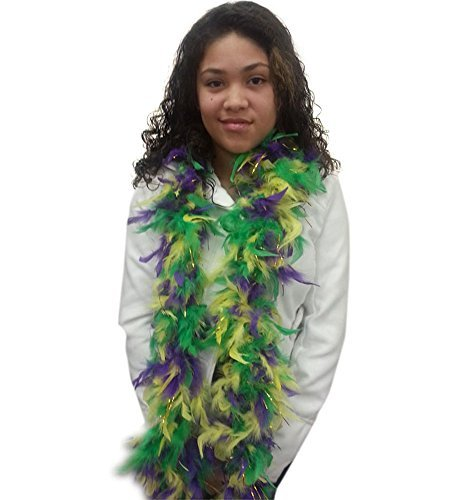 Feather Boa With Gold Tinsel - Mardi Gras Purple Green and Gold Boa by Funny Party Hats by Funny Party Hats