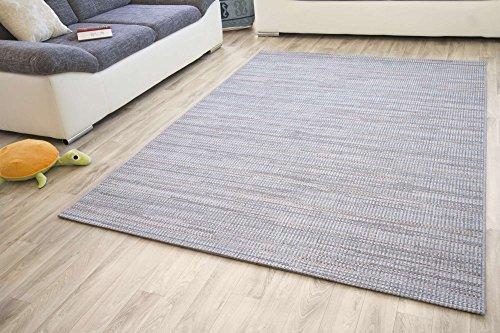 Designer Teppich Modern Dalarna Design in Melange Blau Grau, GUT Siegel Zertifiziert, Größe: 80x150 cm
