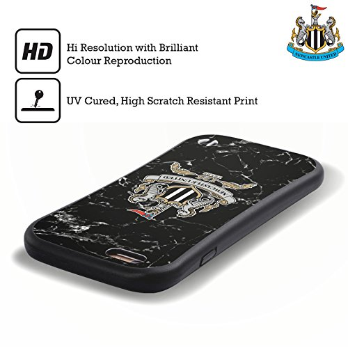 Ufficiale Newcastle United FC NUFC Cresta Bianca 2017/18 Marmoreo Case Ibrida per Apple iPhone 6 / 6s 125 Anni Di Cresta Nero
