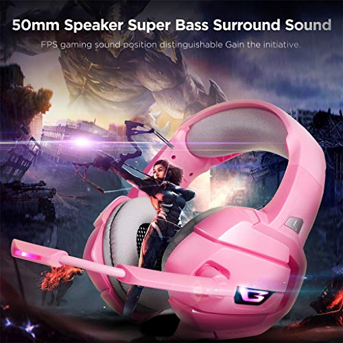 JIJI886 Gaming Kopfhörer für PS4, Gaming Kopfhörer mit Mikrofon Isolierung Rumore und LED Bass Profonce für PS4 PC 360 Nintendo Switch Rosa 356 gr Rosa -