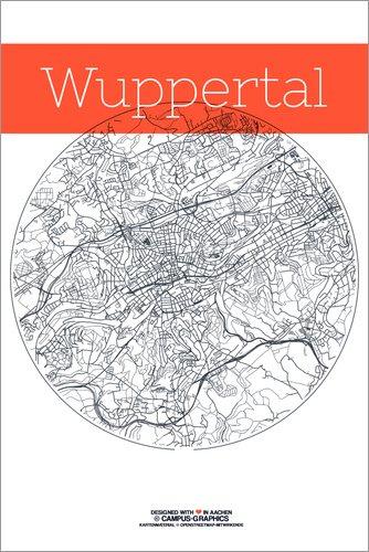 Leinwandbild 80 x 120 cm: Wuppertal Karte Stadt Schwarz Weiss von campus graphics - fertiges...