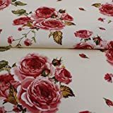Hans-Textil-Shop Stoff Meterware Rosen groß Rot