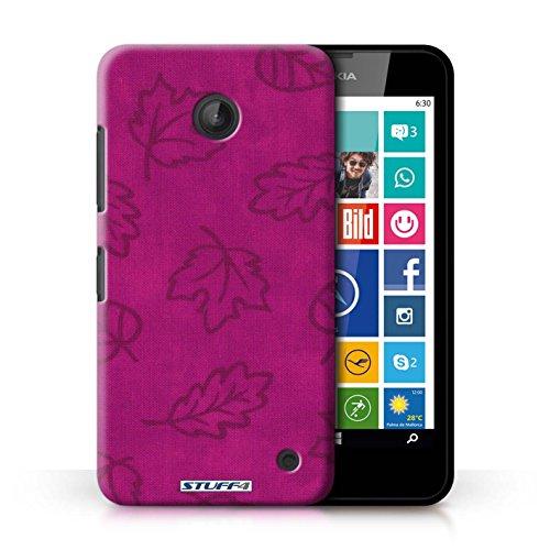Kobalt® Imprimé Etui / Coque pour Nokia Lumia 635 / Rouge conception / Série Motif Feuille/Effet Textile Rose