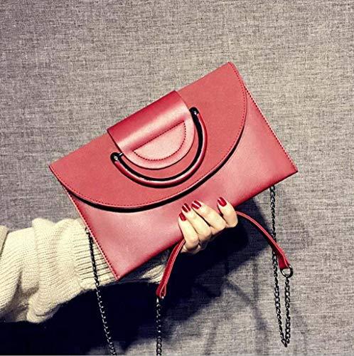 QWhing Abend Clutch Bag PU Kette Tasche Scrub Schulter Messenger Bag Korean Persönlichkeit Mode Wilden Temperament Handtaschen Clutch Bag Weibliche Flut Peeling Handtasche Handtasche (Farbe : Red) -