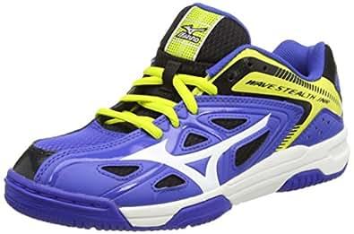 Mizuno Jr Wave Stealth 3, Chaussures de Handball Garçon - Bleu - Blau (Blue/White/Bolt), Taille 34 EU