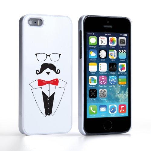 Caseflex Coque iPhone 5 / 5S Etui Rouge M. Moustache Dur Housse