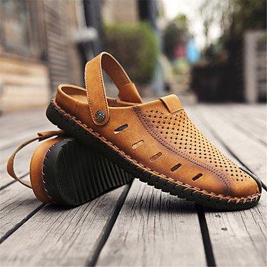 Herren Sandalen Frühling Sommer Comfort Light Sohle Leder Outdoor Casual flachem Absatz Khaki Schwarz Gold Schuhe Gold