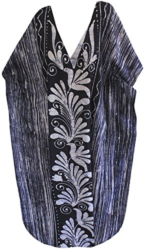 La Leela kimono beachwear maillots de bain maillot de bain en coton batik robe maxi long caftan des femmes bleu marin