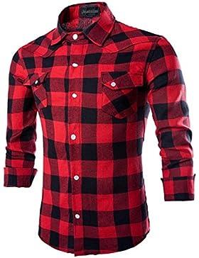 Jeansian Uomo Maniche Lunghe Moda Men Shirts Slim Fit Disegno Casual Collare Camicie 8735