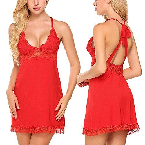 ADOME Sexy Negligee Nachtkleid Nachthemd Damen Spitze Kurz Babydolls kleid Dessous Set Elastisch V-Ausschnitt Lingerie Minikleid mit G-String Rot Medium (Panty Strappy Zurück Kostüme)