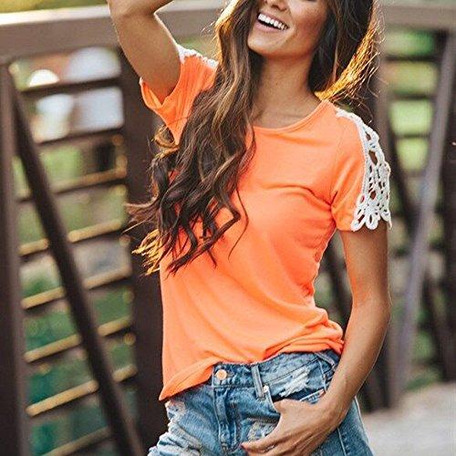 Vovotrade ❤❤Heiß !!!Frauen schnüren sich kurzes Hülsen Blusen beiläufiges Oberseiten T-Shirt Sommer Orange