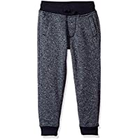 Southpole Little Boys' Jogger Fleece Pants In Basic Marled Colors, Marled Navy (Rubber Logo At Back), Large