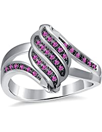 Silvernshine 2.35Ctw Pink Sapphire CZ Diamonds 3Row Twisted Women's Fashion Ring 10K White Gold PL