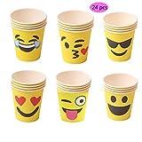 164-teiliges Emoji-Partyzubehör-Set – 17,8m und 22,9cm Emoji-Pappteller, Emoji-Pappbecher, Servietten, Emoji-Besteck, reicht für 24 Personen für 164-teiliges Emoji-Partyzubehör-Set – 17,8m und 22,9cm Emoji-Pappteller, Emoji-Pappbecher, Servietten, Emoji-Besteck, reicht für 24 Personen