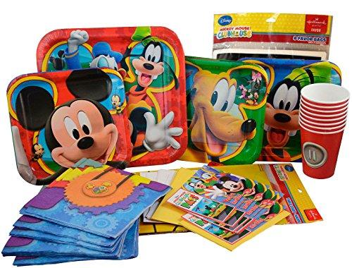 Disney Mickey Maus Geburtstag Party Supplies Pack, Pappteller, Servietten, Geburtstag Banner und Einladungen, Tischdecke, Papier Cups Plus ein Happy Birthday Ballon Medium rot (1. Geburtstag Von Mickey Mouse Einladungen)