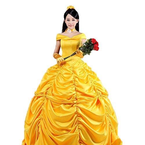 Pettigirl Ladies Prinzessin Kleid Yellow Abendkleid Cosplay Kostüm Karneval 2XS
