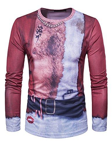 YCHENG Männer Anzug Mode 3D Druck Muster Slim Fit Langarm Rundhalsausschnitt T-Shirt Tops 1102L-D