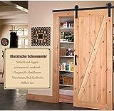183cm Spleiß Biegung-Typ Schiebetürbeschlag Schiebetür Hängeschiene Flaschenzug Schiebetürsystem Komplett-Set für Schiebetüren Innentüren Trennwände und Wandschränke Edelstahl (183.0cm)