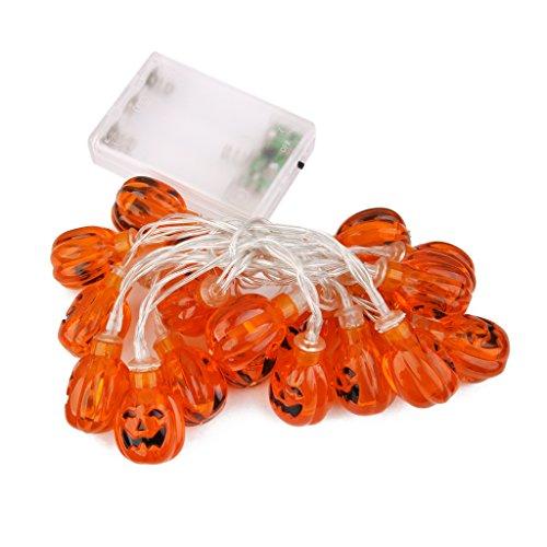 20-LEDs 86inch Guirlande Lumineuse à Piles Décoration Citrouille de Halloween
