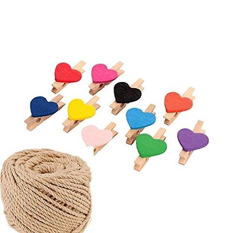 50pcs mignon Cœur à linge en bois Photo de couleur Clips Craft Peg pins avec 30m Ficelle de jute Corde, le meilleur pour Home Chambre d'étudiant loisirs créatifs et décor