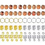 120 Piezas de Dreadlocks Anillas de Trenza Puños de Pelo de Metal Abalorios de Pelo de Madera, 4 Estilos, Colores Variados