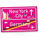 New York City Kunststoff Schild Pink, Geschenk für sie - New York Amerika Reise / süße Deko NYC Fans, Wanddeko, Türschild Mädchen Wohnung, Geschenkidee Geburtstagsgeschenk beste Freundin, Party Deko