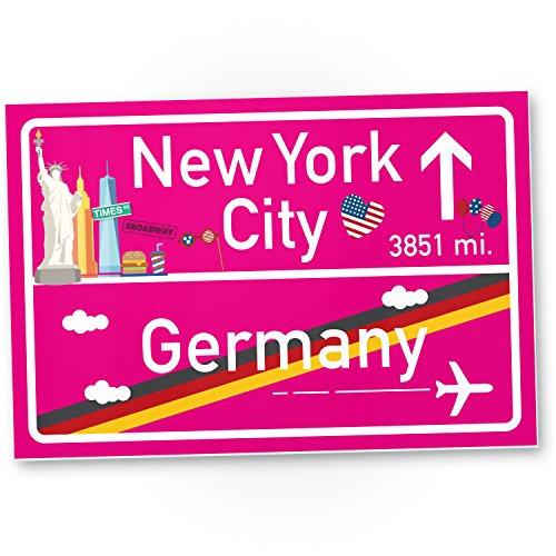 New York City Kunststoff Schild Pink, Geschenk für sie - New York Amerika Reise / süße Deko NYC Fans, Wanddeko, Türschild Mädchen Wohnung, Geschenkidee Geburtstagsgeschenk beste Freundin, Party Deko (Party City Dekorationen Geburtstag)