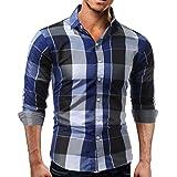 VEMOW Sommer Herbst Business Hem Männer Tägliche Tartan Langärmelige Casual Tägliche Party Workout Dating Pullover Verschluss Sweatshirts Top Bluse(Blau, EU-48/CN-L)