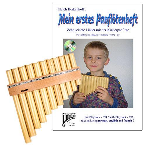 Plaschke Instruments Panföten-Set mit R11-Rohr Panflöte und Lernheft mit CD-Band 1