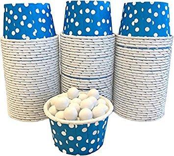 Außerhalb der Box Papier Polka Dot Bulk CANDY Mutter Mini Backförmchen 100Stück blau mit weißen Punkten