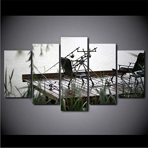 lkfqjd Kein Rahmen Modulare Bild Große Leinwand Malerei5 Stück Angeln Stuhl Gedruckt Für Schlafzimmer Wohnzimmer Home Wall Art Decor