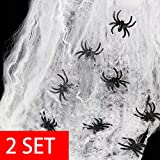 heekpek 130g Tela de Araña con 16 Arañas Decoraciones de Halloween Telarañas Haunted House Arañas de Plástico de Halloween Negras para Materiales de Fiesta de Halloween o Disfraces (2 Sets)