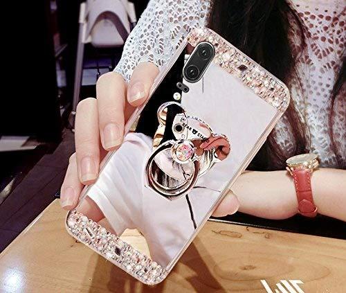 Funda para Huawei P20, carcasa para Huawei P20, carcasa de Ikasus Bling con diamantes de imitación con purpurina de goma, carcasa para espejo de maquillaje con soporte para oso Kickstand, carcasa de TPU suave para Huawei P20,