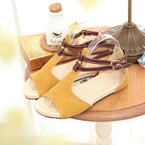 COOLCEPT Damen Mode-Event T-Spangen Sandalen Open Toe Flach Schuhe Gelb