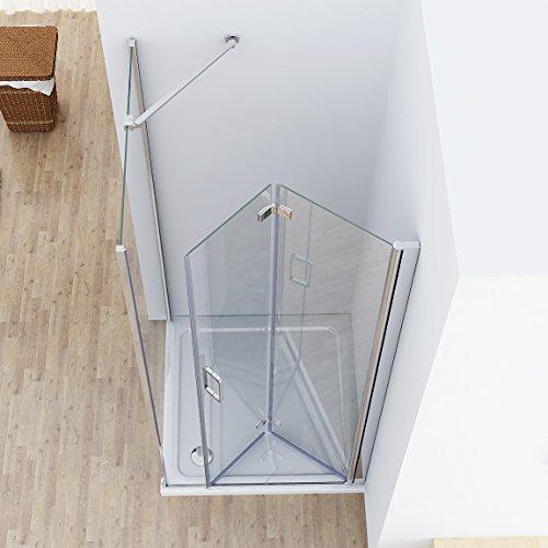 Duschkabine 80x75 cm Eckig Dusche Falttür 80 Seitenwand 75 Duschwand NANO Glas 185cm