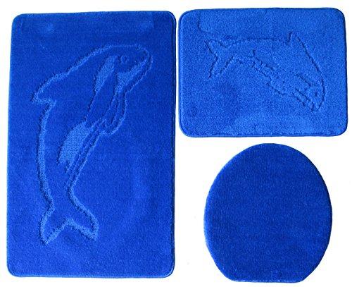 3- teilig Badgarnitur 100x60cm blau Badset Delphin dunkelblau Hänge-WC Badematten Badteppich