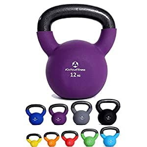 Kettlebell 2kg, 3kg, 4kg, 6kg, 8kg, 10kg, 12kg, 15kg, 20kg »Kylon« – made of 100% iron with protective, coloured neoprene coating – Strength Traning Home Gym Fitness CrossFit – Kettlebells Set