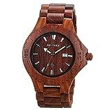 BEWELL uomo orologio automatico data Eco in legno naturale fatta a mano (stile B rosso)